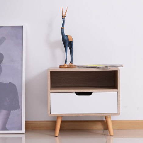 Homcom Wooden Bedside Storage Cabinet Bedroom w/ Drawer Open Shelf