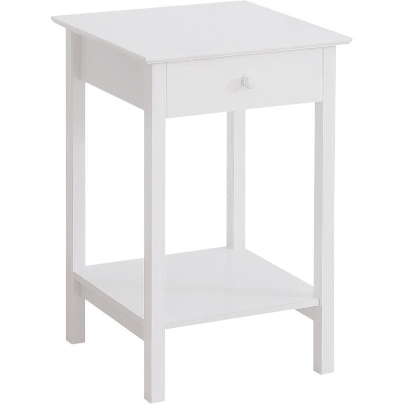 Homcom Wooden Bedside Table Cabinet Storage Unit W Drawer Shelf Furniture White