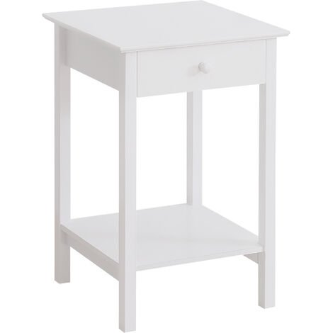 HOMCOM Wooden Bedside Table Cabinet Storage Unit w/ Drawer w/ Shelf Furniture White