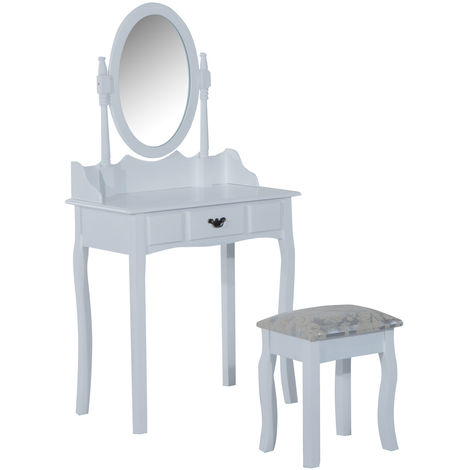 HOMCOM Wooden Dressing Table Vanity Set Makeup Shabby Chic Vintage Style Jewelry Cosmetic Storage Drawer Padded Seat w/ Mirror & Stool (White)