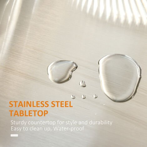 HOMCOM Wooden Kitchen Cart Serving Trolley Storage Cabinet with Stainless Steel Top - Black