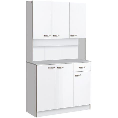 HOMCOM Wooden Kitchen Multi Storage Cabinet Display Cupboard Shelf Organizer Unit Microwave - White