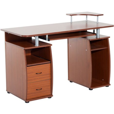 HOMCOM Wooden Office Computer PC Table Desk Desktop Workstation Keyboard Shelf - Walnut