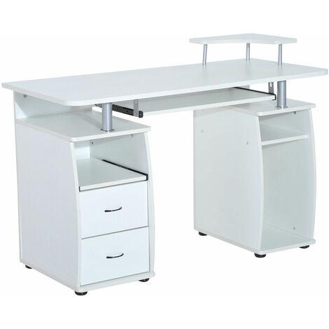 HOMCOM Wooden Office Computer PC Table Desk Desktop Workstation Keyboard Shelf - White