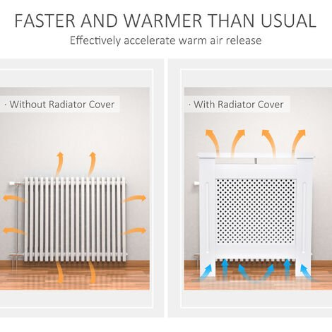Homcom Wooden Radiator Cover Cabinet Modern Grill Style White