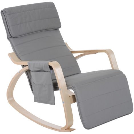 HOMCOM Wooden Rocker Rocking Lounge Chair Recliner Relaxation Lounging Relaxing Seat with Adjustable Footrest & Side Pocket & Cushion (Light gray)