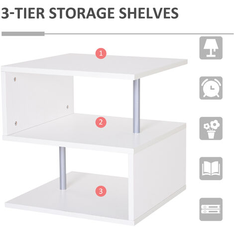 """main image of """"HOMCOM Wooden S Shape Cube Coffee Table 2 Tier Storage Shelves Display - White"""""""