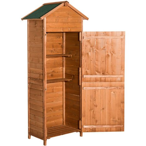 Homcom Wooden Shed Timber Garden Storage Shed Outdoor - 190H x 79L x 49D (cm)