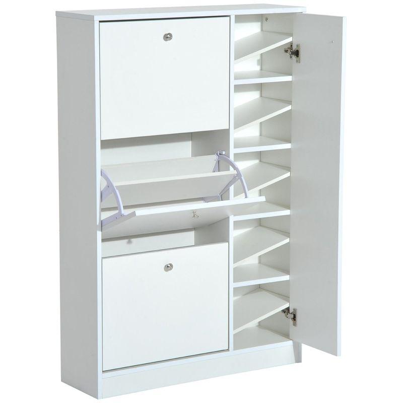 Homcom Wooden Shoe Rack Modern Storage