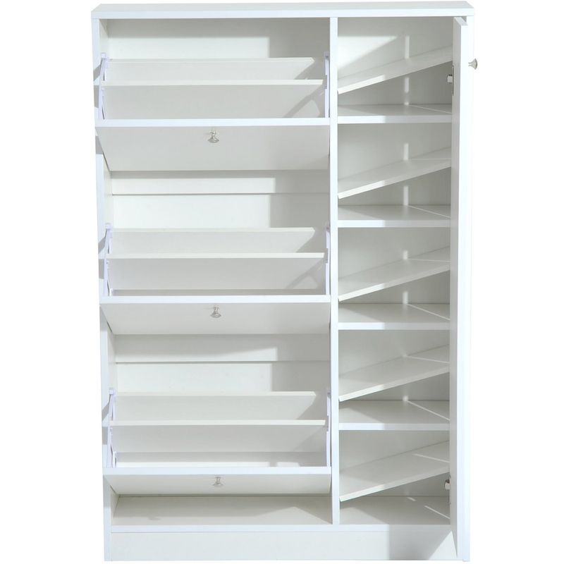 HOMCOM Wooden Shoe Rack Modern Storage Cabinet w/ 4 Doors Hallway Furniture  - White