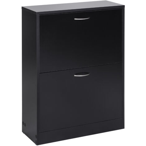 "main image of ""Homcom Wooden Shoe Storage Cabinet 2 Tier Drawers Footwear Stand Organiser"""