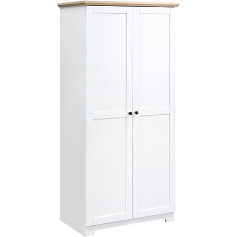 HOMCOM Wooden Storage Cabinet Cupboard With 2 Doors 4 Shelves White 172cm