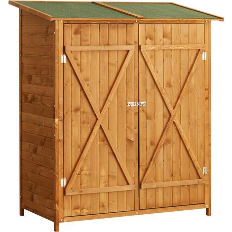 Homcom Wooden Timber Garden Storage Shed - Double Door - 159cm x 140cm x 75cm