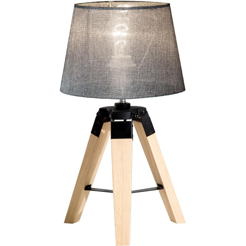 Homcom Wooden Tripod Table Lamp With Bulb Base Grey Shade