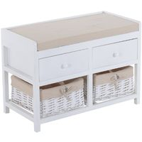 HOMCOM Wooden Unit Storage Bench Seater w/ Cushion & Removable Linings 2 drawers & 2 baskets