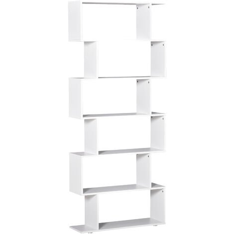 Homcom Wooden Wood S Shape Storage 6 Shelves Unit Cabinet