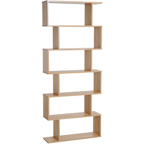 HOMCOM Wooden Wood S Shape Storage Display 6 Shelves Bookshelf - Oak
