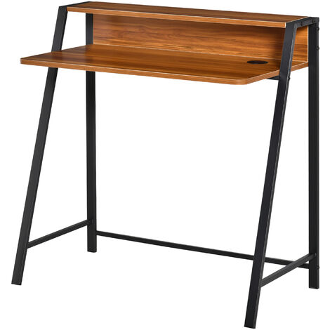 HOMCOM Wooden Writing Desk Computer Table Home Office Walnut