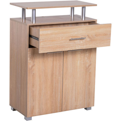 Homcom zapatero de madera armario para zapatos mueble for Armario de pared con entrada equipada