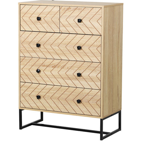 HOMCOM Zig Zag 5 Draw Chest Of Drawers Bedroom Storage w/ Metal Handles 110x40cm