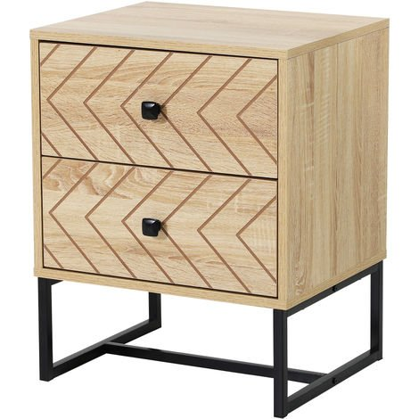 HOMCOM Zig Zag Bedside Table Two-Draw Bedroom Storage Unit w/ Metal Handles 60x40cm