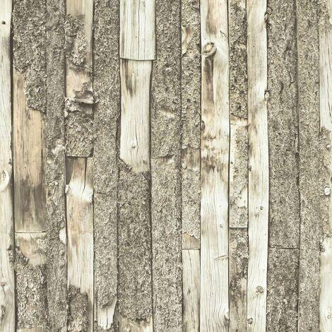 Home Bark Stripe Natural White Wood Panel Wallpaper Brown Off White Vinyl
