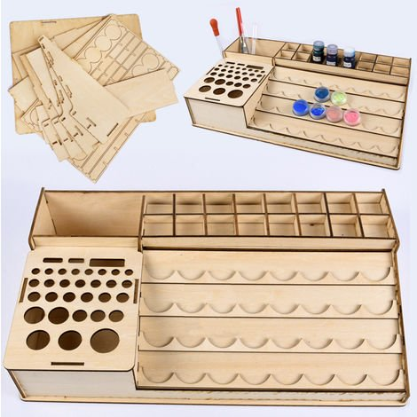 Home Decoration Diy Wooden Pigment Paint Bottles Rack Organizer Epoxy Storage Tools Model Box