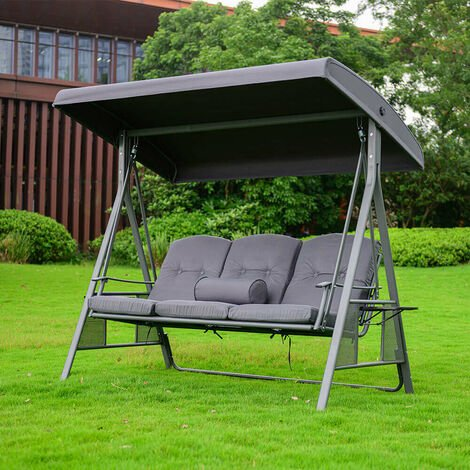 """main image of """"Home Deluxe - Hollywoodschaukel DESCANSO Grau I Doppel-Gartenliege, Lounge-Pavillon"""""""