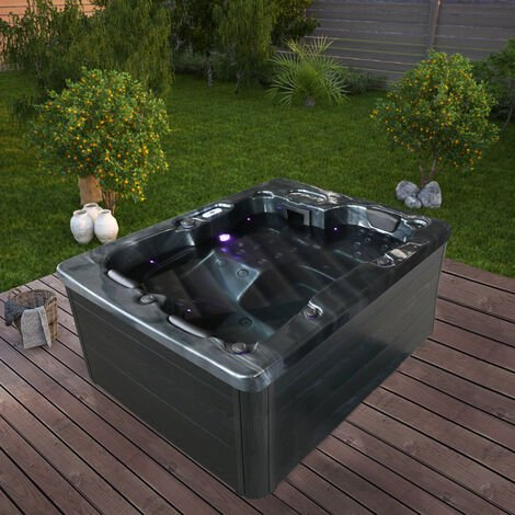 Home Deluxe - Outdoor Whirlpool Black Marble I Jacuzzi, Außenpool, Spa