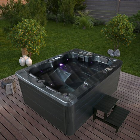Home Deluxe - Outdoor Whirlpool Black Marble plus Treppe und Thermoabdeckung I Jacuzzi, Außenpool, Spa