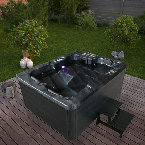 Home Deluxe - Outdoor Whirlpool Black Marble plus Treppe und Thermoabdeckung | Jacuzzi, Außenpool, Spa