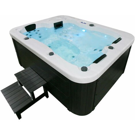 Home Deluxe - Outdoor Whirlpool White Marble plus Treppe und Thermoabdeckung | Jacuzzi, Außenpool, Spa