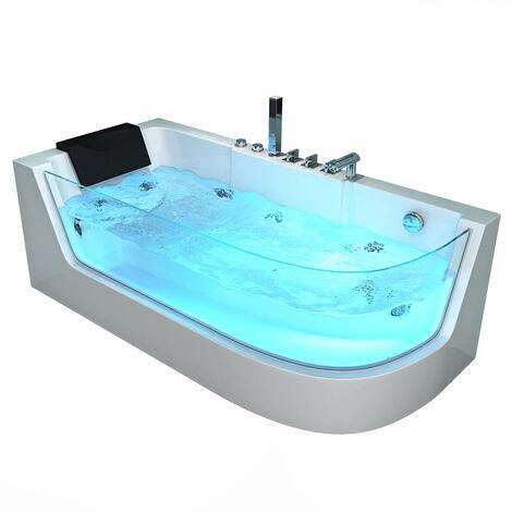Home Deluxe - Whirlpool Badewanne Carica rechts | Eckwanne, Whirlwanne, Indoor Jacuzzi 2 Personen