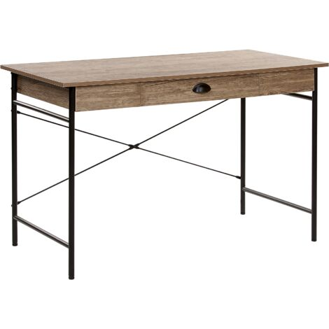 Home Desk 120 x 60 cm Dark Wood with Black CASCO