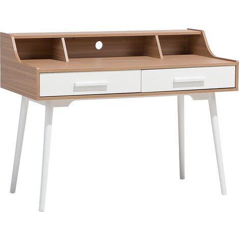 Home Desk Light Wood with White ALLOA