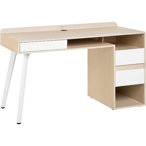 Home Desk Light Wood with White CARACAS