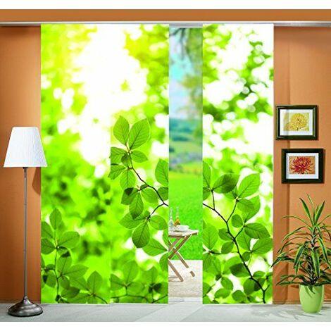 Home fashion 88512-168 Leaf Lot de 3 rideaux en tissu décoratif Vert Impression numérique Motif feuilles 245 x 60 cm