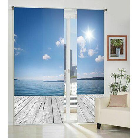Home fashion 88913-106 Ocean Lot de 3 rideaux en tissu décoratif Bleu Impression numérique 245 x 60 cm