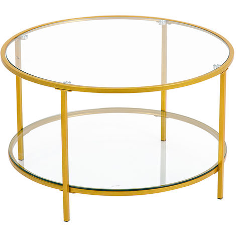 Home furniture round tea table glass top coffee table 80 x 80 x 49cm