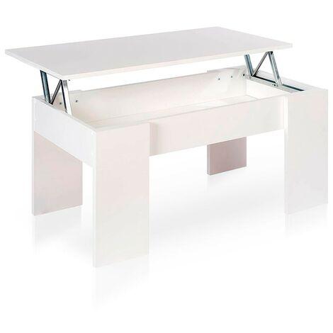 Home Heavenly® Mesa de Centro elevable para Comedor, salón PREMIER 2, Mesa Auxiliar   Color : Blanco - Blanco mate