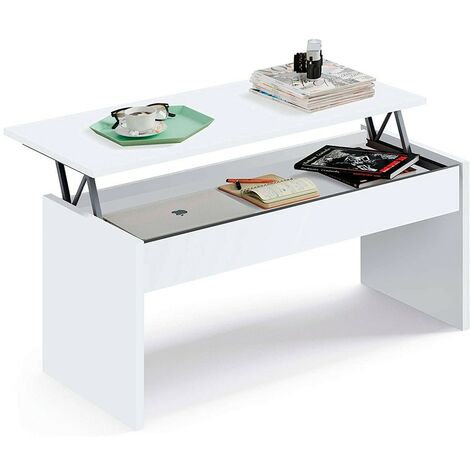Home Heavenly® Mesa de Centro elevable para Comedor, salón Premier, Mesa Auxiliar 100 X 50 cm | Color : Blanco - Blanco mate