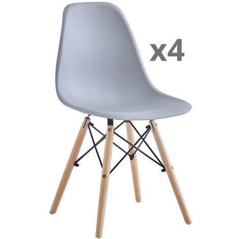 Home Heavenly®- Pack 4 sillas Comedor salón Modelo NÓRDICA, con Pata de Madera respaldo ergonómico   Color: Blanco - Blanco