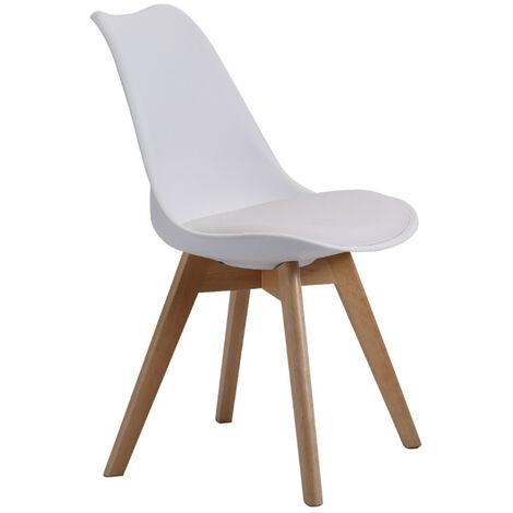 Home Heavenly® Pack de 4 sillas Comedor, modelo TULIPA diseño nórdico con Asiento Acolchado   Color : Blanco - Blanco