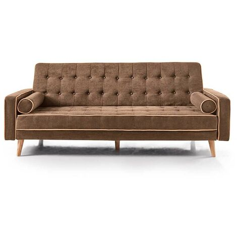 Home Heavenly® - Sofá Cama Oslo, Elegante sofá Clic clac 3 plazas tapizado respaldo y asiento capitoné   Color : Marrón - Marron-oslo