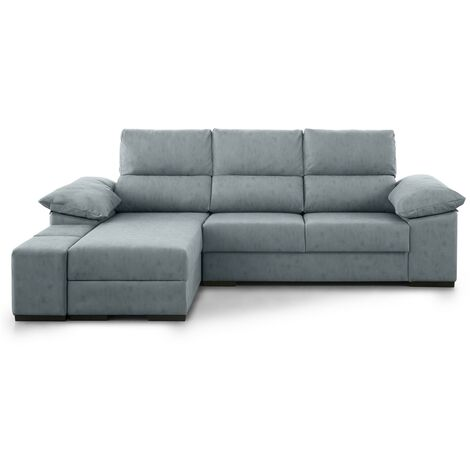 Home Heavenly®- Sofá Chaiselongue CAPRI, 4 plazas, asientos deslizantes, cabezales reclinables, en tela con tratamiento antimanc | Color: Gris. Chaise Longue: Derecha (visto de frente) - Gris-Chipre
