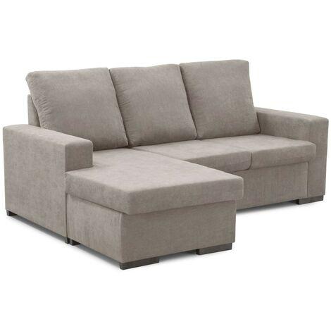 Home Heavenly® Sofá ChaiseLongue Chicago, sofá 3 plazas con pouff Reversible, tapizado en Tela Antimanchas | Color : Beige - Beige - Marte