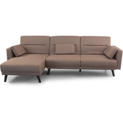 Home Heavenly® Sofá Chaiselongue Clic clac Arezzo, 3 plazas convertible en cama, reversible patas en Madera, tapizado el tela de | Color : Gris - Arezzo - gris