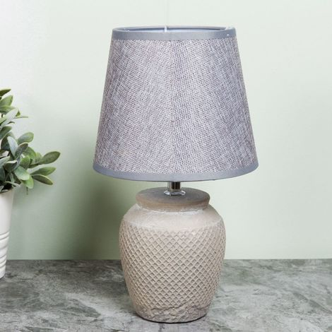 Home Living Ceramic Lamp with Grey Shade 15cm