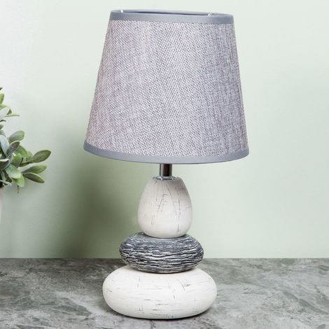 Home Living Pebble Lamp with Grey Shade 15cm