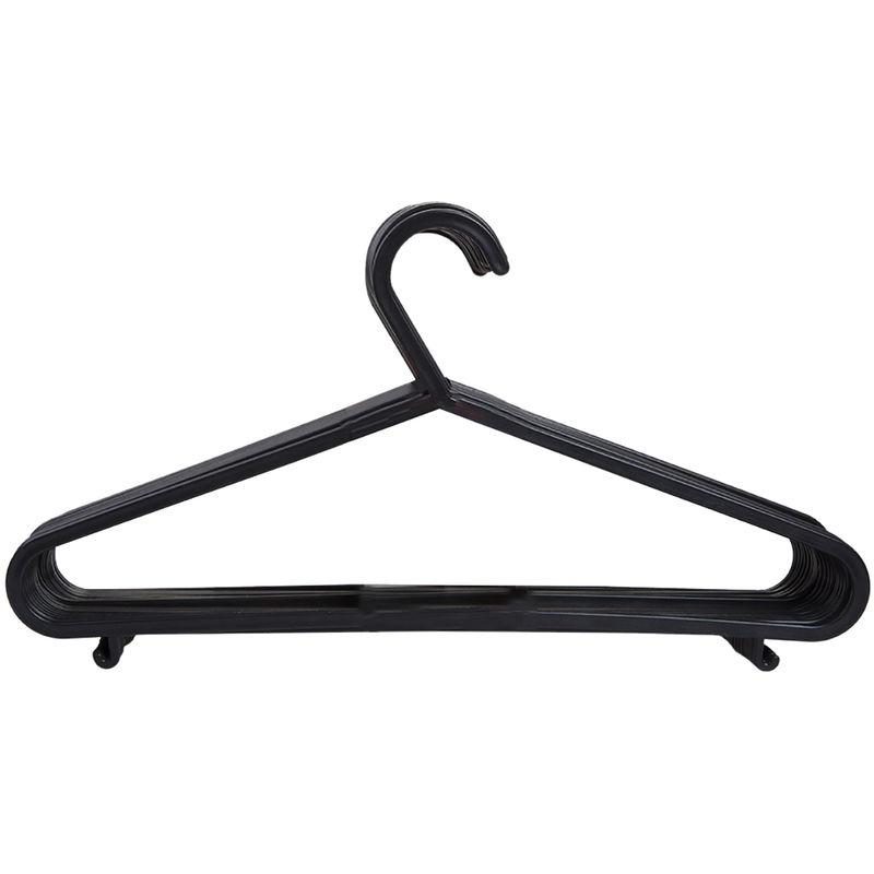 Image of Plastic Coat Hangers (Pack Of 20) (One Size) (Black) - Home&living